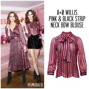 Alice + Olivia Willis Stripe Bow Neck Top